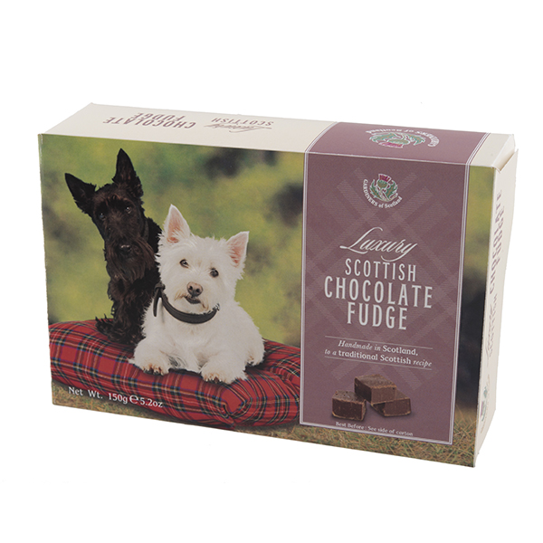 Luxury choc fudge scottie dog carton