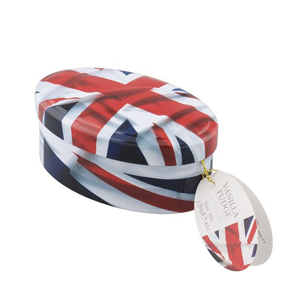 british flag tin of fudge