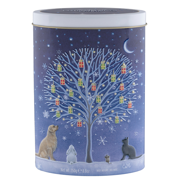 christmas decorative tin of fudge