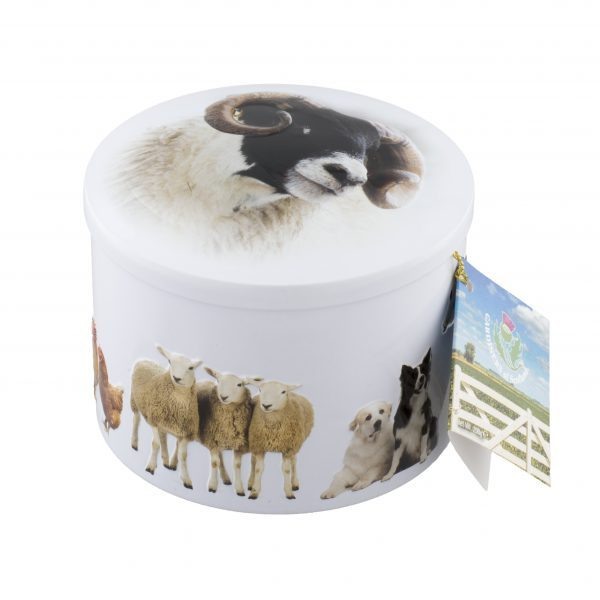 round white tin with various farm animals