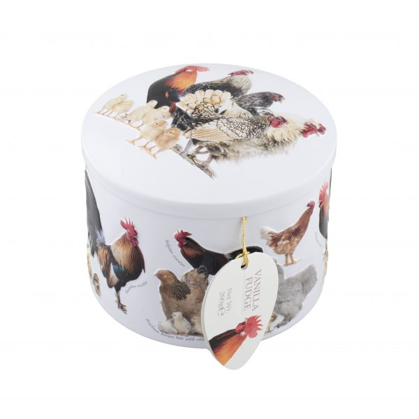 chicken farm fudge tin