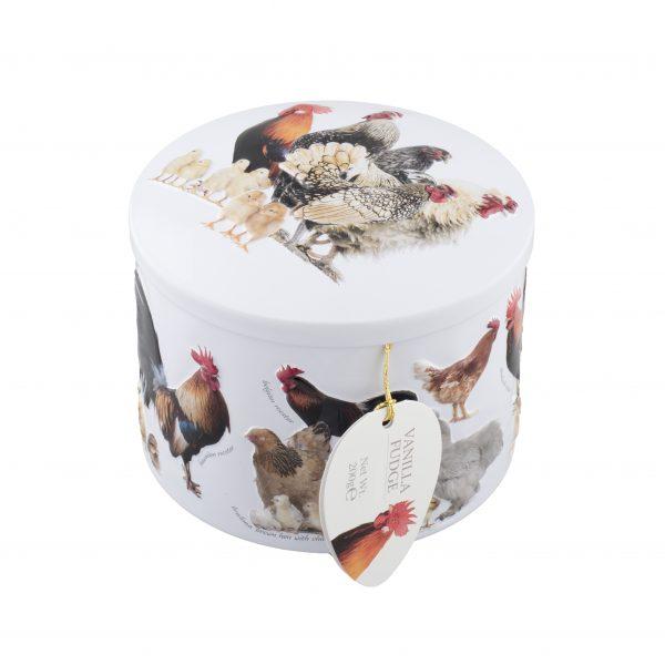 chicken farm fudge tin