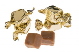 Gold twist wrapped fudge pieces