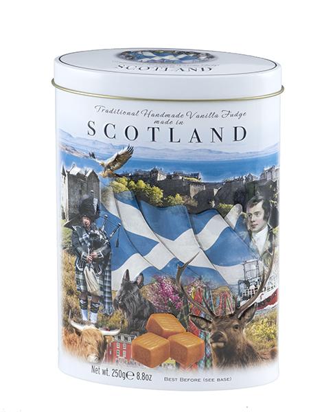 scotland themed fudge gift tin