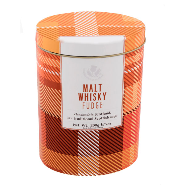 Modern tartan whisky fudge tin