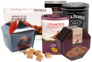 branded fudge tins and carton merchandise